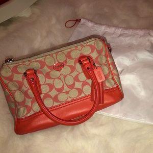 Coach Canvas Logo Mini Satchel Orange Tan Handbag
